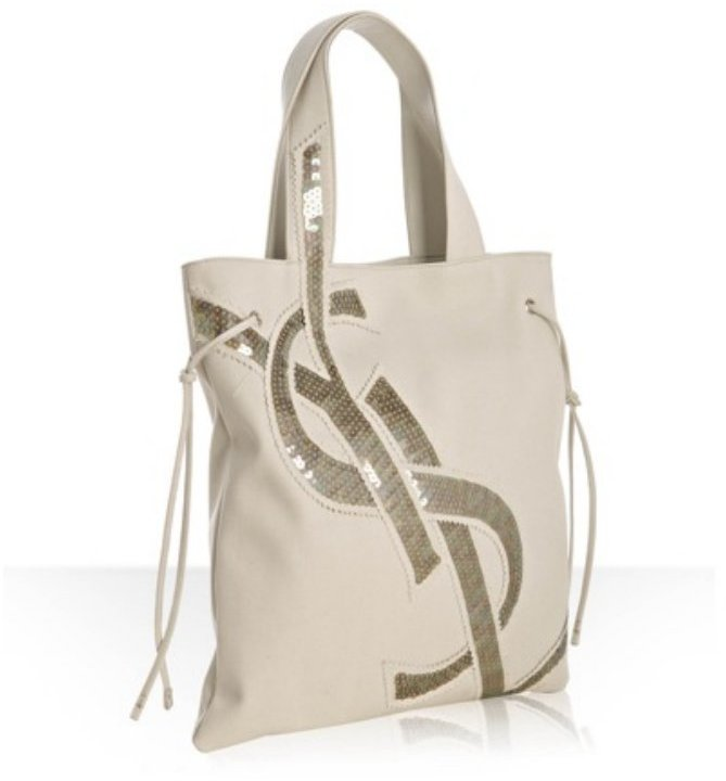 Yves Saint Laurent light grey canvas sequin 'YSL' flat tote