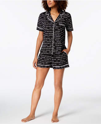 DKNY Logo Contrast-Piping Knit Boxer Pajama Set