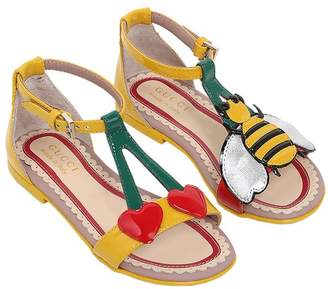 Gucci Cherries & Bee Patent Leather Sandals