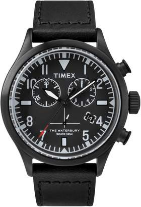 Timex Boutique Waterbury Black Leather Strap and Dial Chronograph Watch