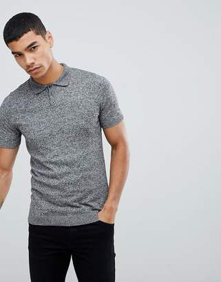 Asos DESIGN Knitted Muscle Fit Polo Shirt In Gray Twist