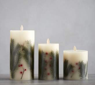 Pottery Barn Premium Flicker Flameless Pine Inclusion Candle - Green