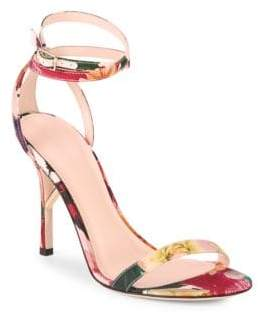 Cushnie et Ochs Felix Floral Ankle-Strap Sandals