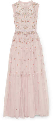 Needle & Thread Rainbow Ditsy Embellished Tulle Gown - Pink
