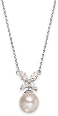 Majorica Sterling Silver Organic Man-Made Pearl Butterfly Pendant Necklace