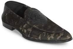 Balmain Camo-Print Eve Leather Slippers