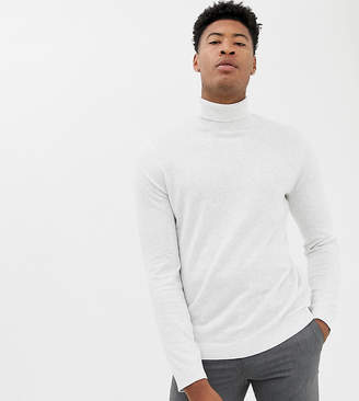 Asos DESIGN Tall cotton roll neck sweater in white