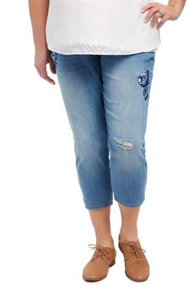 Motherhood Maternity Plus Size Secret Fit Belly Floral Embroidered Maternity Crop Jeans