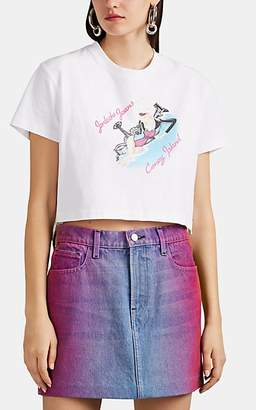 "Jordache Women's ""Coney Island"" Graphic Cotton Crop T-Shirt - White"