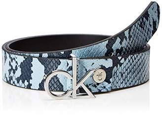 Calvin Klein Women's 3cm Adj.Buckle Belt (Dusty Blue Snake 910), (Size: 80)