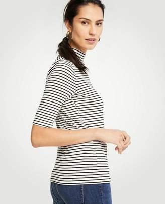 Ann Taylor Striped Elbow Sleeve Mock Neck Top