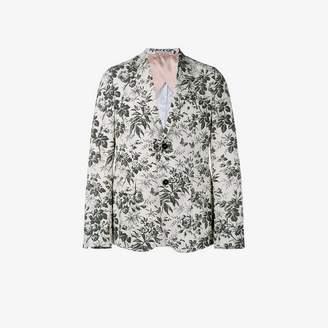 Gucci Mens White Floral Cotton Tailored Blazer, Size: 50