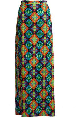 Andrew Gn Geometric-print silk-crepe maxi skirt