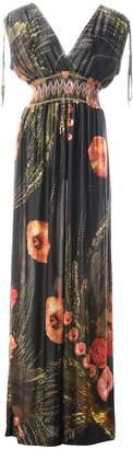 QZUnique Women's Plus Size V-Neck Sleeveless Elastic Waist Bohemian Beach Dress Maxi DressL