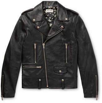 fa134fce60d Saint Laurent Slim-Fit Textured-Leather Biker Jacket