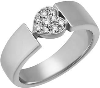Piaget 18k White Gold Diamond Heart Ring, Size 6.25