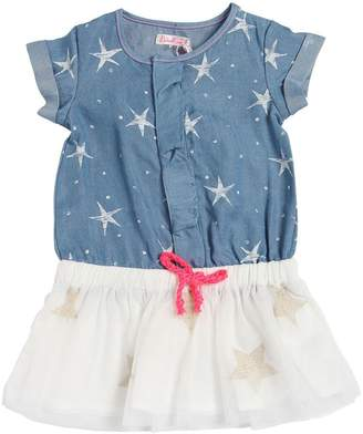 Billieblush Star Print Cotton Chambray & Tulle Dress
