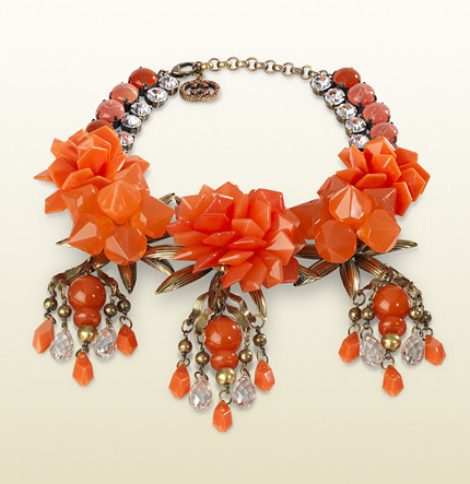 Gucci Necklace With Coral Flowers Motif