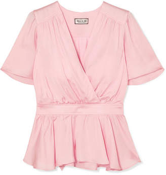 Paul & Joe Wrap-effect Satin Top - Pink