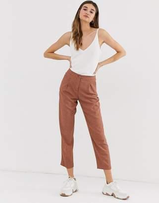 Monki tailored peg pants in rust