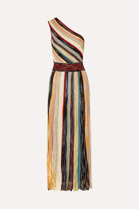 Missoni One-shoulder Striped Metallic Crochet-knit Maxi Dress - Burgundy