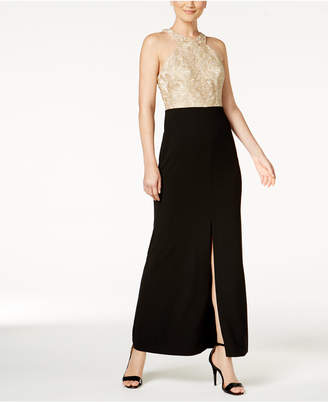 Calvin Klein Lace-Contrast Halter Gown
