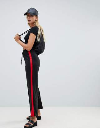 Brave Soul flared trousers with side stripe in red