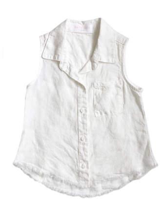 Bella Dahl Frayed Hem Sleeveless Collared Shirt, Size 8-14