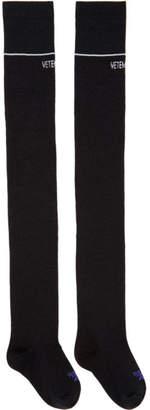 Vetements Black Reebok Edition Lurex Over-the-Knee Socks