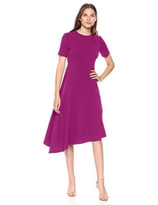 Donna Morgan Women's Stretch Crepe Asymmetric Hem Fit and Flare Dress