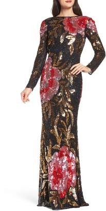 Mac Duggal Drape Back Floral Sequin Gown