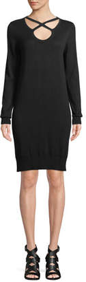 MICHAEL Michael Kors Cutout-Neck Long-Sleeve Cotton-Blend Shift Dress