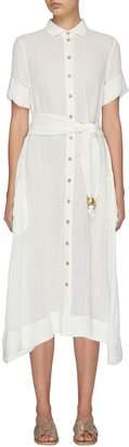Lisa Marie Fernandez Bead belted linen blend shirt dress