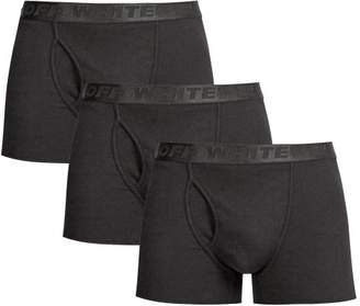 Off-White Off White Set Of Three Stretch Cotton Jersey Boxer Trunks - Mens - Black