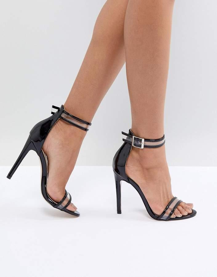 Public Desire Aurelia Black Clear Strap Sandals