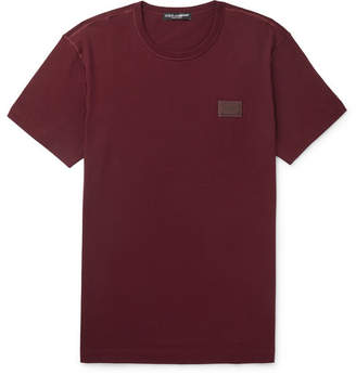 Dolce & Gabbana Slim-Fit Logo-Appliqued Cotton-Jersey T-Shirt - Men - Burgundy