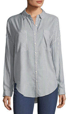 1 STATE 1.State Oversized Striped Button-Down Top