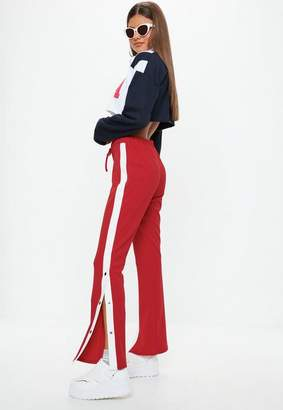 Missguided Red Side Popper Wide Leg Trousers, Red