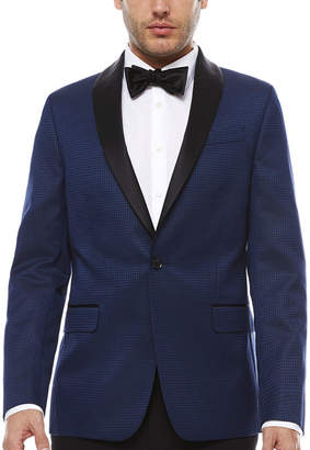 Jf J.Ferrar JF Stretch Blue Houndstooth Tuxedo Jacket- Slim