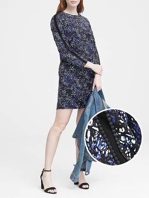 Banana Republic Print Pom-Pom Shift Dress