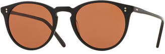 Oliver Peoples The Row O'Malley NYC Peaked Round Sunglasses, Black
