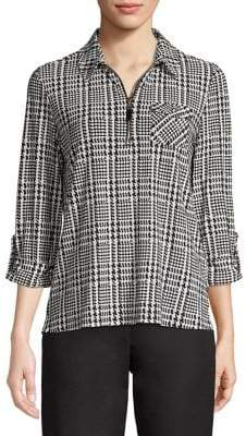 Tommy Hilfiger Plaid Houndstooth Roll-Tab Blouse