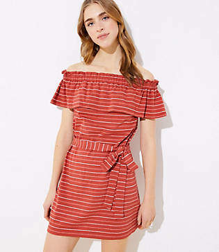 LOFT Beach Ruffled Off The Shoulder Dress