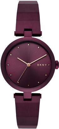 DKNY Women's Eastside Port Purple Stainless Steel Half-Bangle Bracelet Watch 34mm, Created for Macy's
