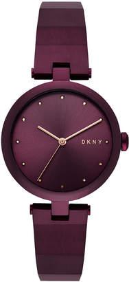 DKNY Women's Eastside Port Purple Stainless Steel Half-Bangle Bracelet Watch 34mm