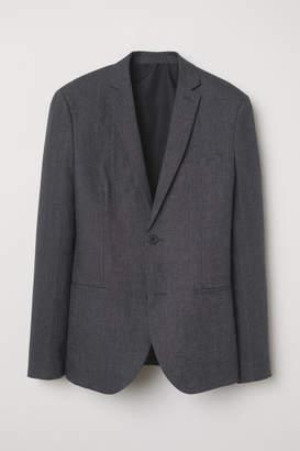 H&M Slim Fit Linen Blazer - Gray