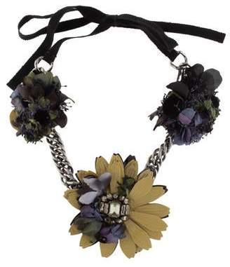 Miu Miu Crystal & Leather Collar Necklace