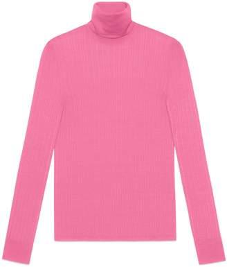 Gucci Fine silk blend turtleneck knitted top