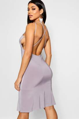 boohoo Double Strap Low Back Fishtail Midi Dress