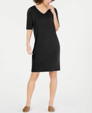 Eileen Fisher V-Neck Elbow-Sleeve Tencel Shift Dress, Regular & Petite
